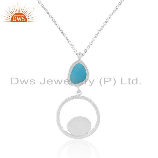 Wholesale Fine Sterling Brushed Finish Silver Handmade Enamel Chain Pendant