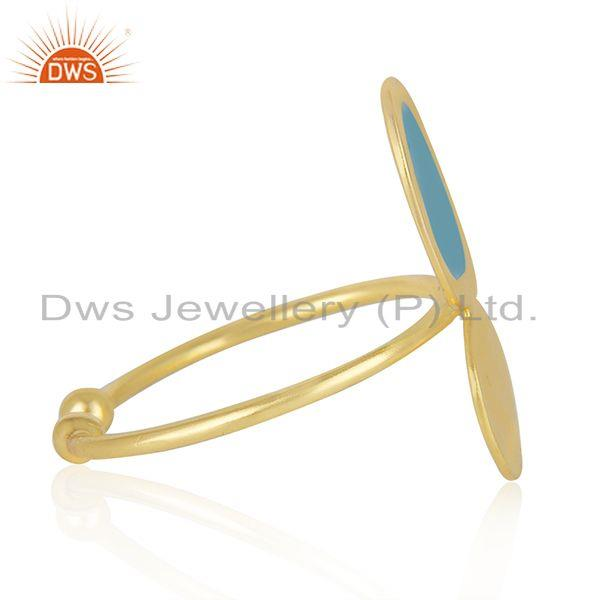 Supplier of Handmade Enamel Design Gold Plated 925 Sterling Silver Designer Rings