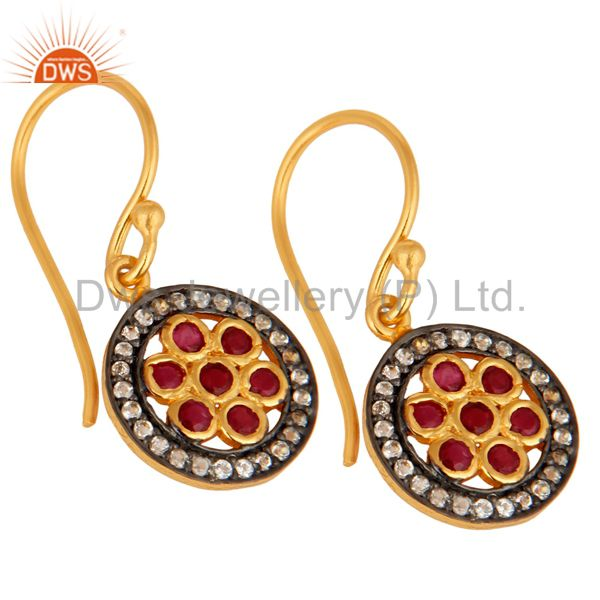 Wholesale 925 Sterling Silver Ruby And White Topaz Gemstone Earring