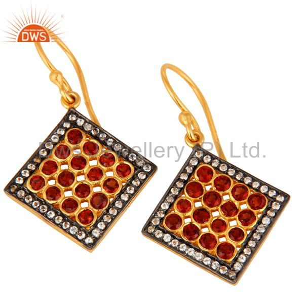 Manufacturer of Handmade 18K Gold Over Sterling Silver White Topaz & Garnet Gemstone Earring
