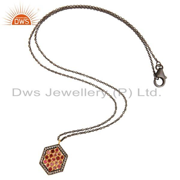 Wholesale Pink Tourmaline Sterling Silver Pave Diamond Pendant With 16