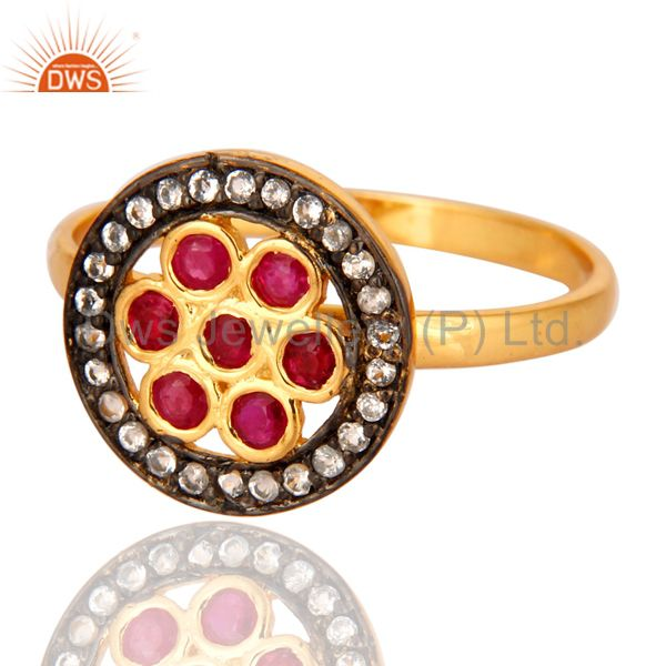 Supplier of 18K Yellow Gold Plated Sterling Silver Genuine Ruby And White Topaz Ring