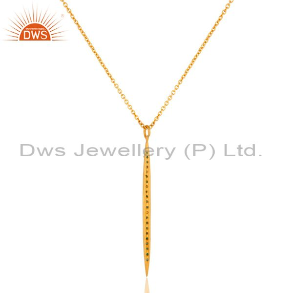 Supplier of 14K Yellow Gold Plated Handmade Round Cut Emerald Chain Brass Necklace Jewelry