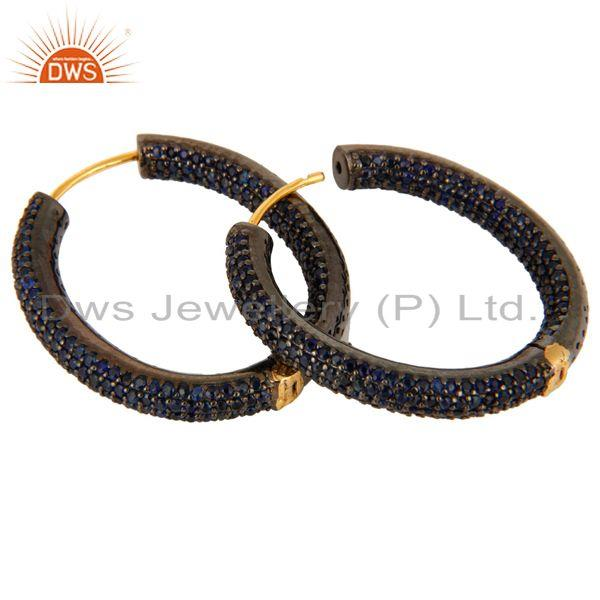 Manufacturer of 14K Solid Yellow Gold Natural Blue Sapphire Gemstone Designer Hoop Earrings