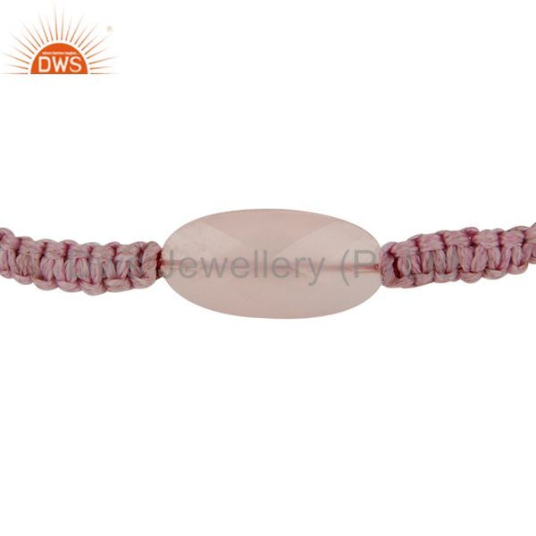Manufacturer of Handmade Designer Macrame Bracelet With Natural Rose Chalcedony Gemstone