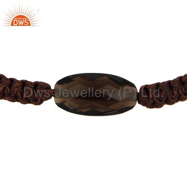 Supplier of Handmade Faceted Smoky Quartz Gemstone Macrame Bracelet