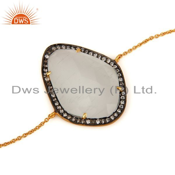 Manufacturer of White Moonstone & CZ 925 Sterling Silver With Gold Plated Chain Bracelet