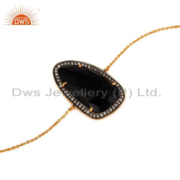 Wholesale 18K Gold Plated Sterling Silver Black Onyx Gemstone Designer Bracelet With CZ