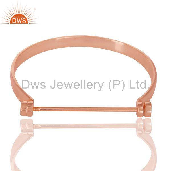 Wholesale 14K Rose Gold Plated 925 Sterling Silver Handmade Screw Lock Openable Bangle