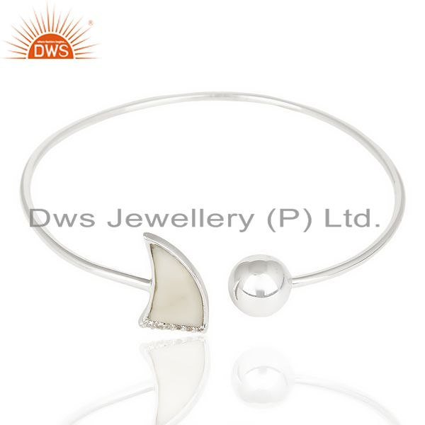 Howlite Horn Openable Adjustable White Cz Studded 92.5 Sterling Silver Bangle