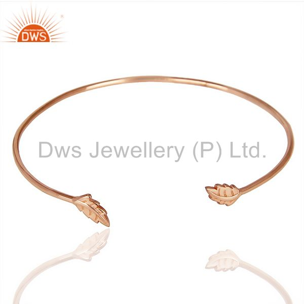 Leaf Adjutable Bangle Rose Gold Plated In Solid 92.5 Sterling Silver