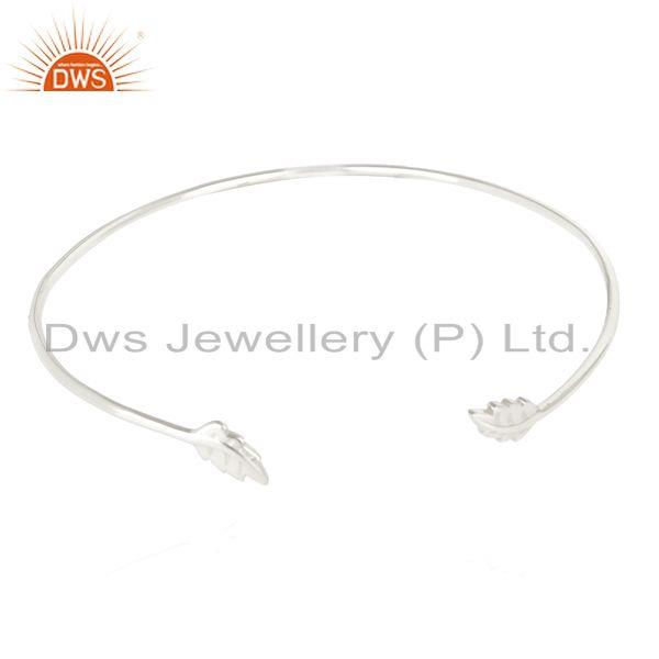 Leaf Adjutable Bangle.Openable Bangle Sterling Silver,Leaf Bangle