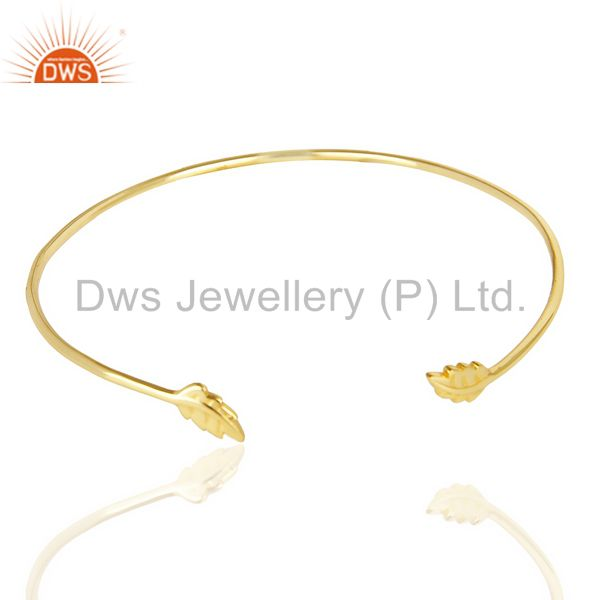 Leaf Adjutable Bangle 14 K Gold Plated In Solid 92.5 Sterling Silver