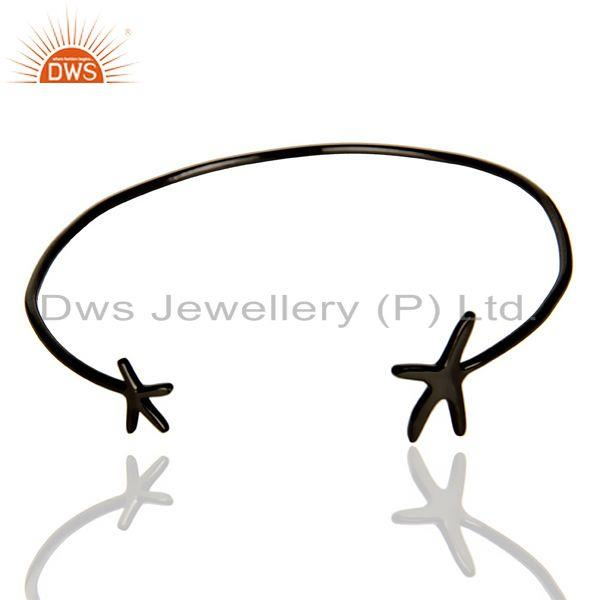 Star Fish Bangle,Openable Adjustable Bangle Black Rhodium Plated In Solid Silver