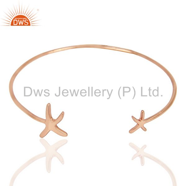 Star Fish Bangle,Openable Adjustable Bangle Rose Gold Plated In Solid Silver