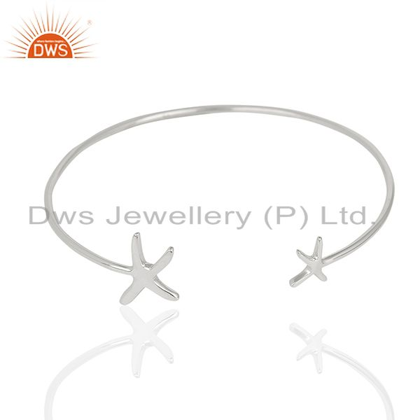 Star Fish Bangle,Openable Adjustable Bangle Solid 92.5 Sterling Silver