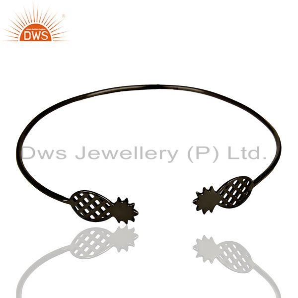 Pineapple Openable Adjustable Cuff Bracelet Black Rhodium In Sterling Silver