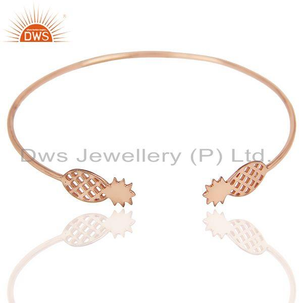 Pineapple Openable Adjustable Cuff Bracelet Rose Gold Plated In Sterling Silver