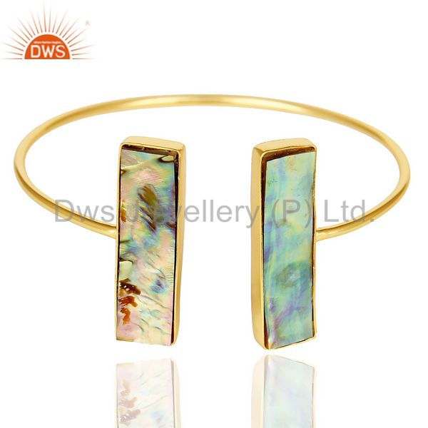 Abalone Shell Beguette Adjutable Openable Bangle 14K Gold Plated 92.5 Silver
