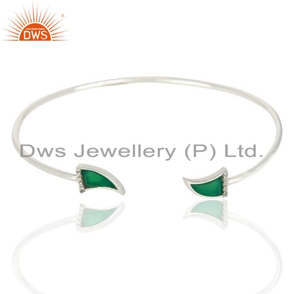 Green Onyx Unisex Tooth Horn Openable Adjustable Sterling Silver Bangle