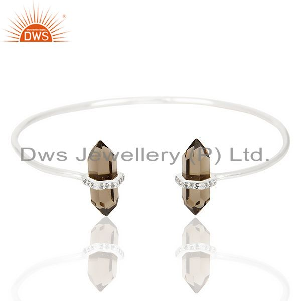 Smoky Topaz Pencil Point Healing Openable Adjustable Sterling Silver Bangle