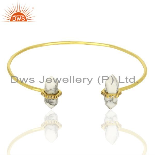 Howlite Pencil Point Healing Openable Adjustable Gold Plated Bangle