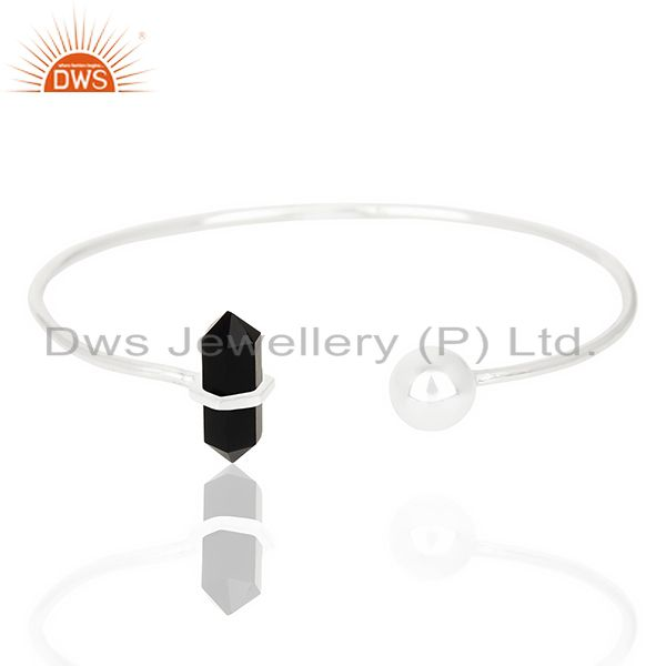 Black Onyx Double Terminated Pencil Point Openable Sterling Silver Bangle