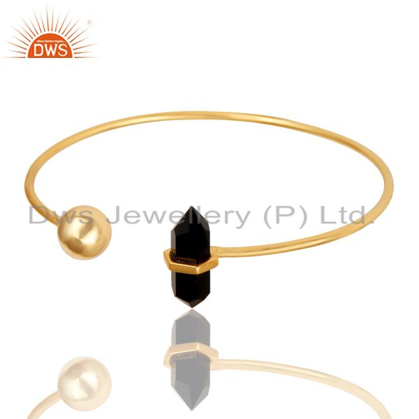 Black Onyx Double Terminated Pencil Point Openable Gold Plated Silver Bangle