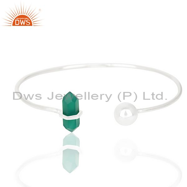 Green Onyx Double Terminated Pencil Point Openable Sterling Silver Bangle