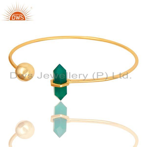 Green Onyx Double Terminated Pencil Point Openable Gold Plated Silver Bangle