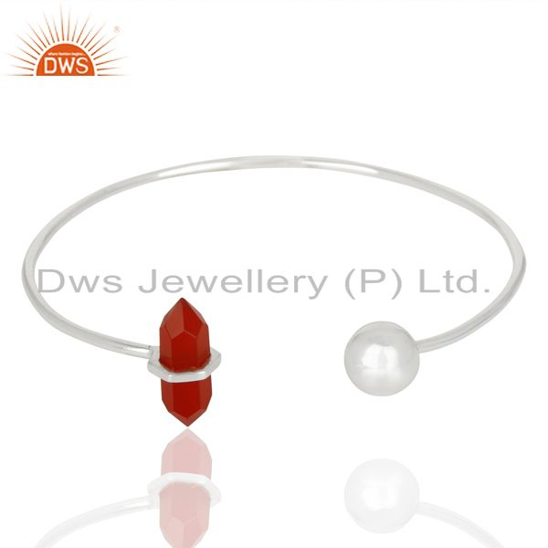 Red Onyx Double Terminated Pencil Point Openable Sterling Silver Bangle