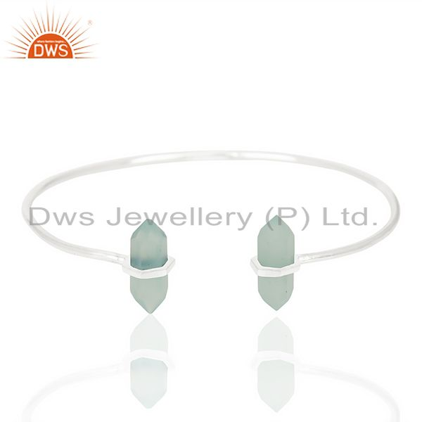 Aqua Chalcedony Terminated Pencil Point Openable 92.5 Sterling Silver Bangle