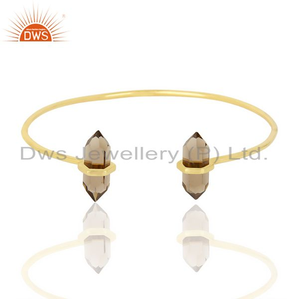 Smoky Topaz Terminated Pencil Point Openable Gold Plated Silver Bangle