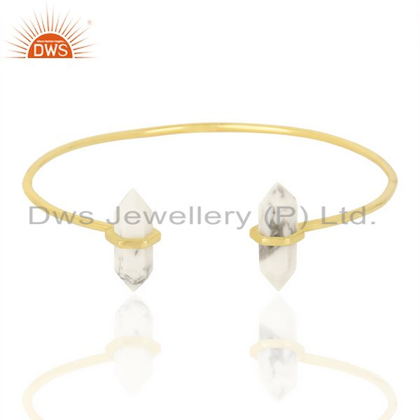 Howlite Terminated Pencil Point Openable Gold Plated Silver Bangle
