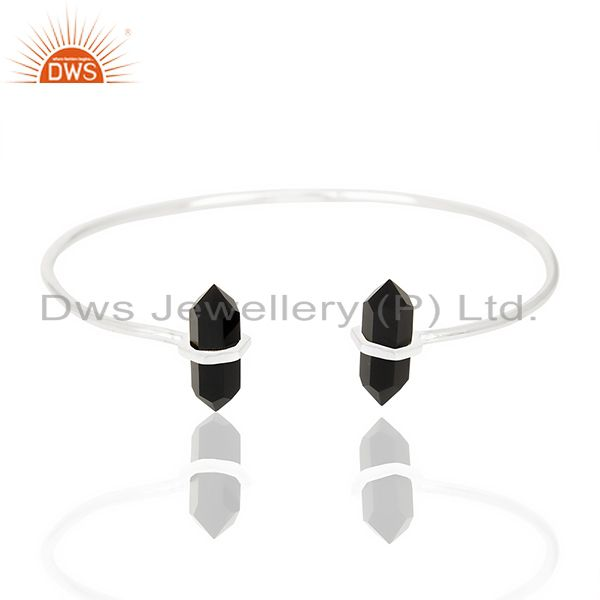 Black Onyx Terminated Pencil Point Openable 92.5 Sterling Silver Bangle