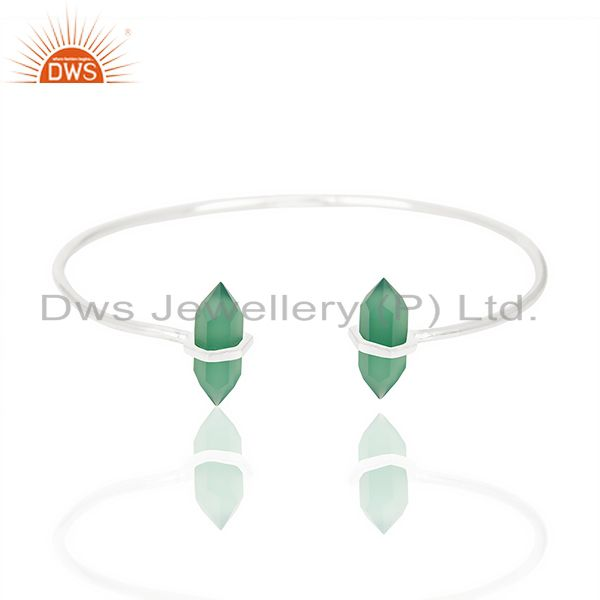 Green Onyx Terminated Pencil Point Openable 92.5 Sterling Silver Bangle