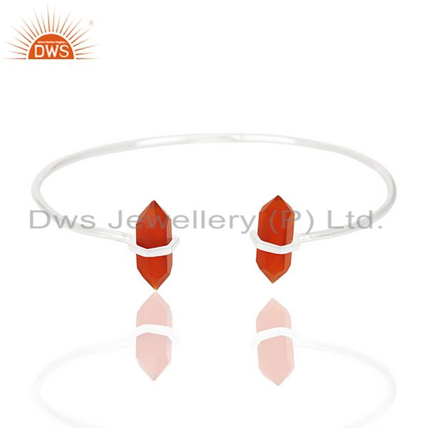 Red Onyx Terminated Pencil Point Openable 92.5 Sterling Silver Bangle