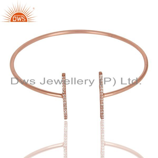 Cz Studded Parallel Bar Bangle Rose Gold Plated Sterling Silver Bangle