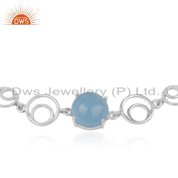 Indian Wholesaler of Blue Chalcedony Gemstone Fine Sterling Silver Designer Chain Bracelet