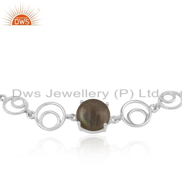 Indian Supplier of Designer Fine Sterling Silver Labradorite Gemstone Chain Bracelet