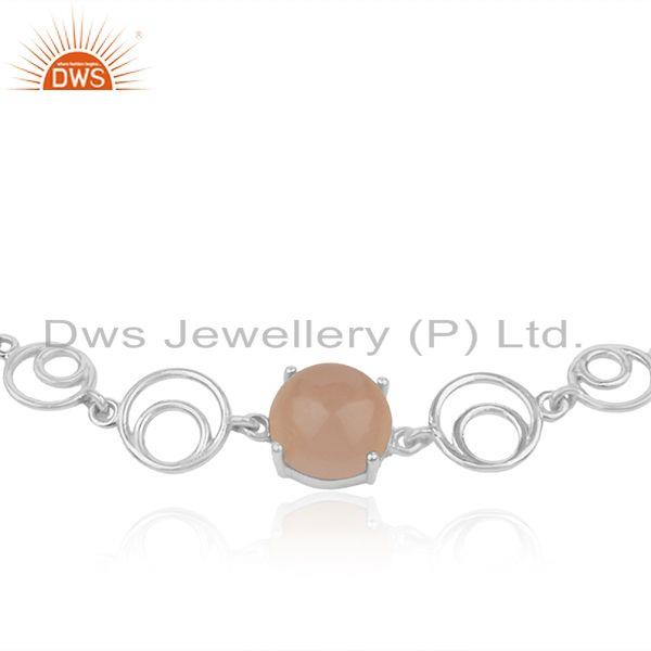 Indian Manufacturer of Rose Chalcedony Gemstone Fine 925 Sterling Silver Chain Bracelet