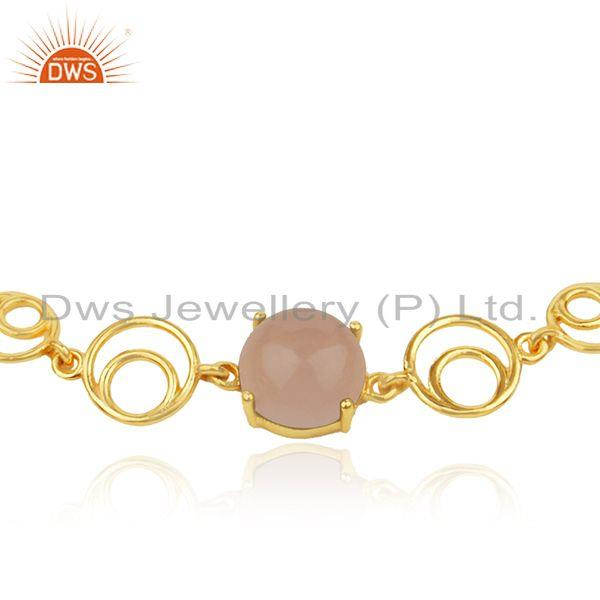 Indian Wholesaler of Rose Chalcedony Gemstone Gold Plated Sterling Silver Chain Bracelet