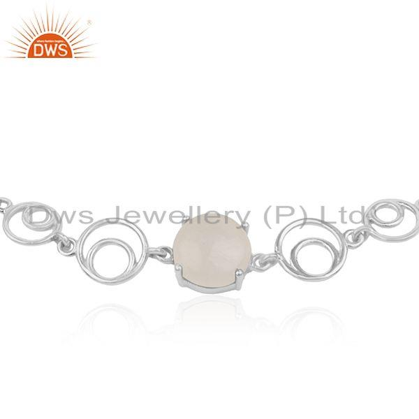 Indian Wholesaler of Designer Sterling 925 Fine Silver Rainbow Moonstone Chain Bracelet