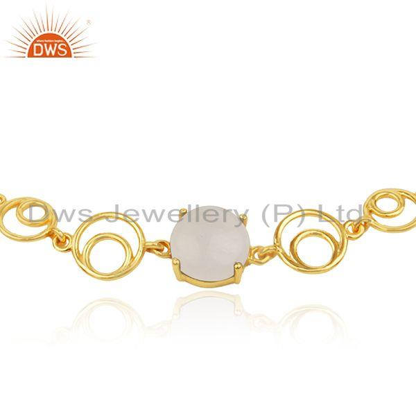 Indian Supplier of Designer Sterling Silver Yellow Gold Plated Rainbow Moonstone Bracelet