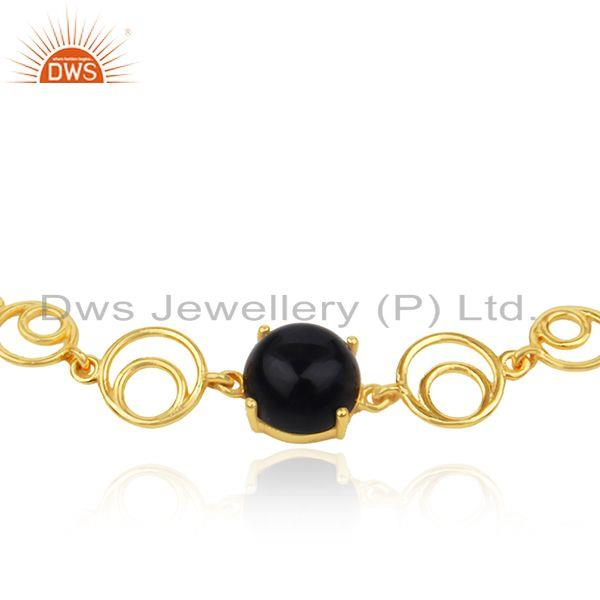 Indian Manufacturer of Genuine Black Onyx Gemstone Sterling Silver Gold Plated Chain Bracelet