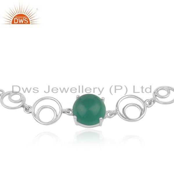 Indian Manufacturer of Genuine Green Onyx Gemstone Sterling Fine 925 Silver Chain Bracelet