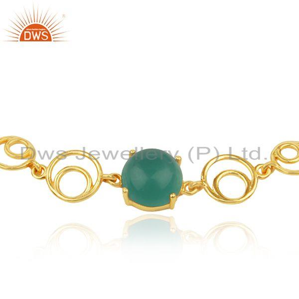 Indian Wholesaler of Genuine Green Onyx Gemstone Sterling Silver Gold Plated Chain Bracelet