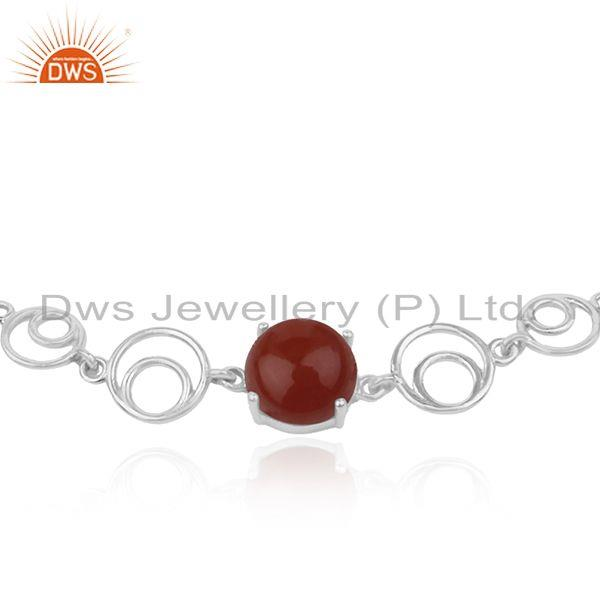 Indian Wholesaler of Indian Designer Sterling Fine 925 Silver Red Onyx Gemstone Bracelet