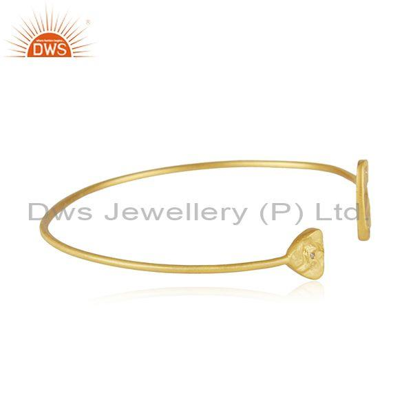 Manufacturer of White Zircon Handmade Gold Plated Sterling 925 Silver Cuff Bracelet
