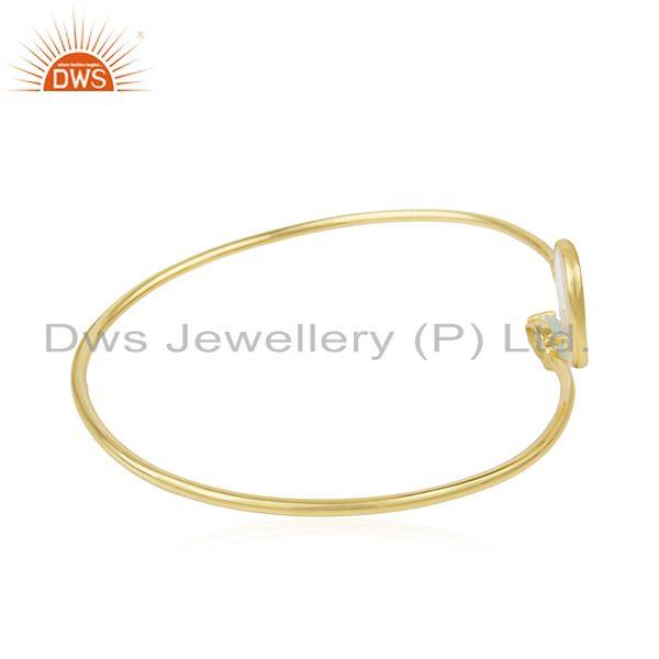 Wholesale Mother of Pearl Gemstone Gold Plated 925 Sterling Silver Cuff Bangle